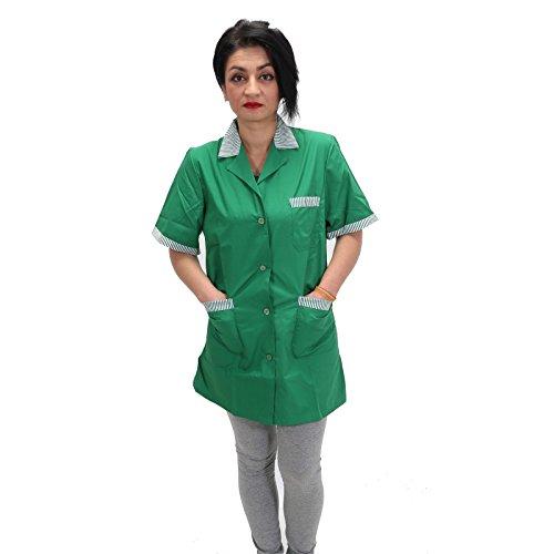 Camice da lavoro,donna,verde,maestra asilo,imprese di pulizia,professionale,operaia,fiorista misto cotone,mezza manica(xl)
