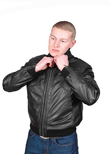 Herren Gepaßte Bomber Lederjacke Designer weiche hochwertige Mantel George Schwarz - 4