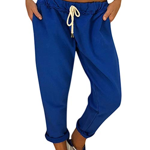 WOZOW Hosen Freizeithose Damen Harem Solid Einfarbig Casual Lose Lang Long Straight Leg SweatHosen Freizeithose High Waist Fashion Street Kordelzug Zug Trousers Stoffhose (XL,Grau)