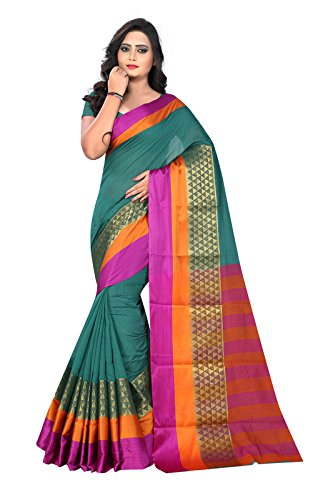 BLF Women's Cotton Silk Jacquard Work Green Color Saree With Fancy Blouse...