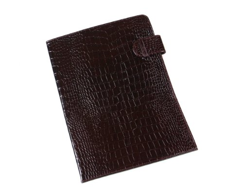 Sage Brown Genuine Leather Brown Croc Document Folder