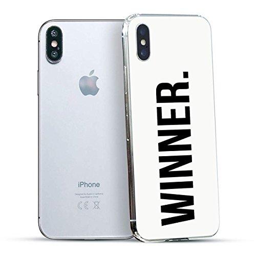 finoo | Iphone X Hard Case Handy-Hülle mit Motiv | dünne stoßfeste Schutz-Cover Tasche in Premium Qualität | Premium Case für Dein Smartphone| Love Laugh Live Winner Dot White