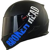 Broken Head BeProud Blau Ltd - Schlanker Motorradhelm Mit Schwarzem Zusatz-Visier - Matt-Schwarz -...