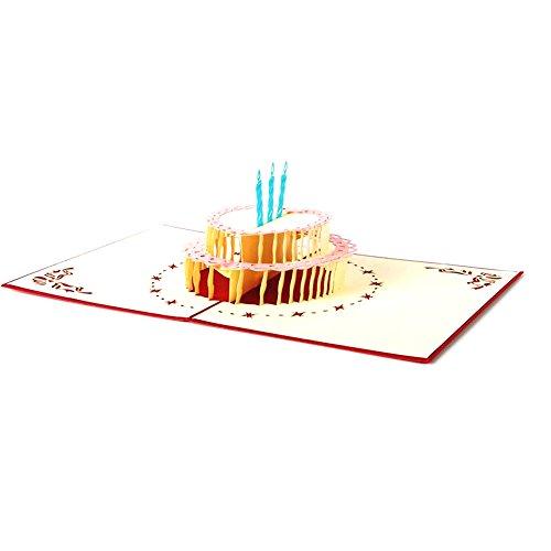 3D Pop up Grußkarte Jahrestag Geburtstag Hochzeit Craft Birthday Cake Red -