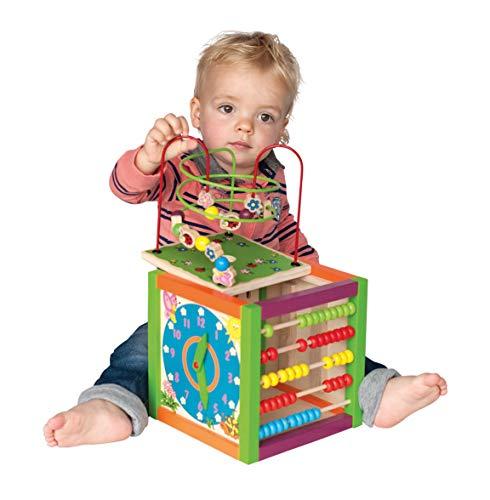 Hape - Legno Cubo di Multi Funzione con Orologio Apprendimento, Spiralboard, Spirale per Motricità, Conteggio dei Fotogrammi, Xilofono