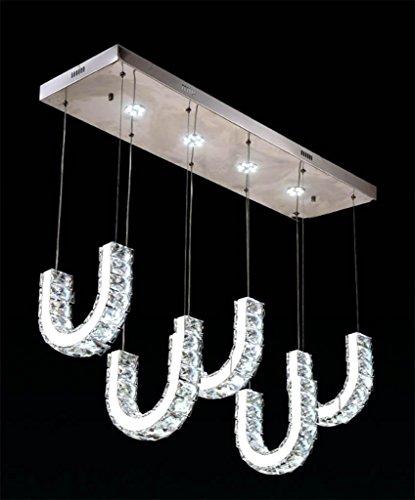 Lh$yu Kristall-Kronleuchter Esszimmer Lampe U-Typ Kronleuchter 47 * 24CM, 85