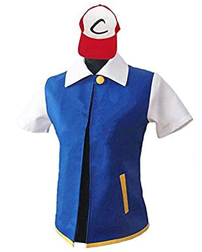 New&Yi Erwachsenenkostüm Cosplay Jacke, Handschuhe Hut Sets für Trainer Halloween Hoodie - Blau - (Adult Halloween Hüte)