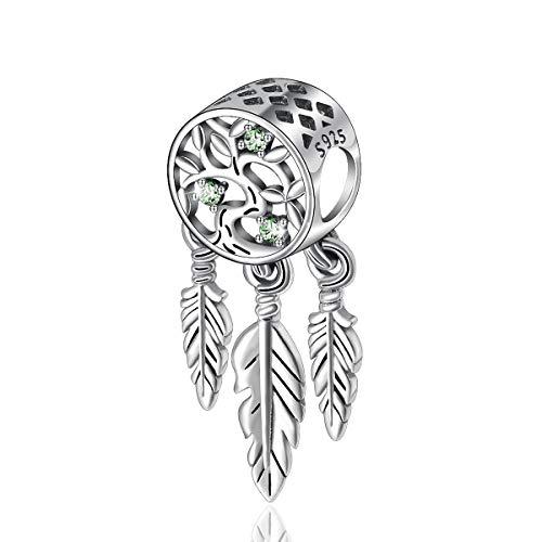 Spirituale charm di cacciatore di sogni, 925 sterline d'argento europeo charms, albero della vita charm e ciondoli per bracciali/pendente collane, gioielleria di celestia