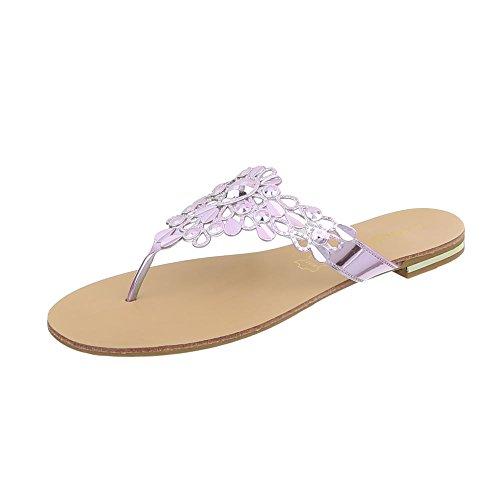 Ital-Design Zehentrenner Damen-Schuhe Blockabsatz Sandalen Sandaletten Lila, Gr 39, 37-45-