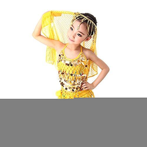 Besmall Bauchtanz Kostüm / Schürze / Zubehör set Full Set Belly Dance indischen Tanz Kleidung Performance Set 2pcs /3pcs /5pcs & Rot + Gelb