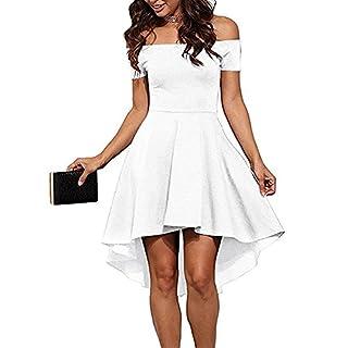 ZJCTUO Damen Kleid Abendkleid Schulterfreies Cocktailkleid Jerseykleid Skaterkleid Knielang Elegant Festlich Asymmetrisches Partykleid- Gr. 42 (XL), Weiß