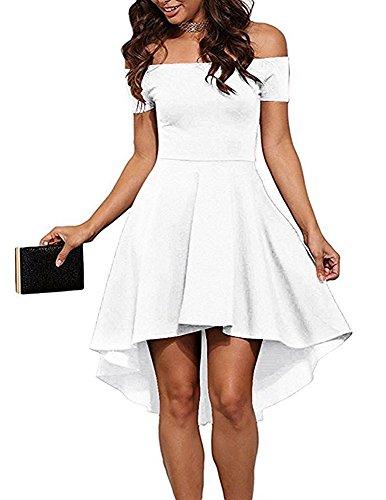 ZJCTUO Damen Schulterfreies Kleid Elegant Skaterkleid Kurz Cocktailkleid Asymmetrisch Abenkleid Festlich Partykleid (44, Weiß)