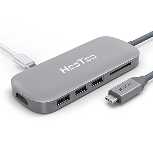 HooToo HUB USB C (6 en 1) 100W Alimentado + HDMI 4K Ultra HD + Lector de Tarjeta SD + 3 Puertos USB, Adaptador Multipuerto para Mac/Mac Pro/Chromebox Pixel [Certificado MFI], Space Grey