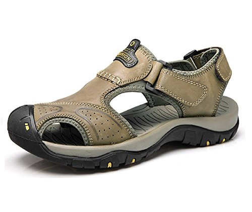 T-gold sandali sportivi da uomo estive sandali in pelle punta chiusa scarpe da trekking(46 eu,cachi)