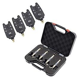 Hirisi Tackle® Lot de 4détecteurs de touches et 4 écureuils avec boîtier en plastique noir Pêche à la carpe