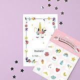 popcarte 16 Cartes d'invitation Anniversaire Fille avec 16 Enveloppes • Licorne Fleurie avec Planche de 16 Stickers (Violette