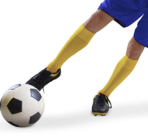 Sumkia Life Long Hose Football Socks Compression High Elastic Breathable Soccer Knee-High Tube Running Sports for men and women  yellow red blue