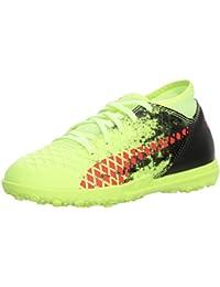 Puma Unisex-Kids Future 18.4 TT Soccer Shoe, Fizzy Yellow-Red Blast Black, 5 M US Big Kid