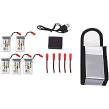Foxom 5 Stück 3.7V 1000mAh Lipo AKKU + 5 in 1 Ladegerät + 1 x AKKU Explosionssichere Feuerbeständige Sicherheit Tasche für MJX Hubschrauber T04/T05/T25/M03/F28/F29