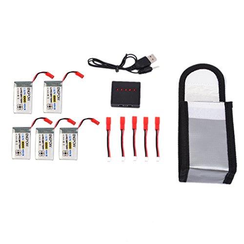 Lommer 5pcs 1000mah Lipo Batterie mit 5 in 1 Ladegerät und Sicherheit Explosionsgeschützte Tasche für MJX Hubschrauber T04 / T05 / T25 / M03 / F28 / F29