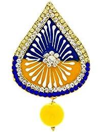 Anuradha Art Yellow-Blue Combination Adorable Stylish Brooch & Sari Pin For Women/Girls