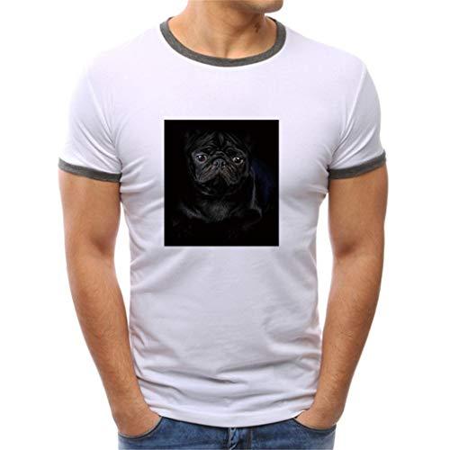 UINGKID Herren T-Shirt Kurzarm Slim fit Baumwolle Arbeiten Feste Druckenart-ntwurfs- beiläufige Hemd-Oberseiten-Bluse (Batman Muskel Brust)