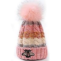 Aifulai Gorro de Lana para Mujer Sombreros de otoño e Invierno Sombrero de Punto de Cuatro Colores de Abeja Más Gorro de Terciopelo Grueso,Pink