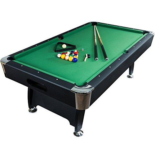 """Maxstore 7 ft Billardtisch Premium"""" + Zubehör, 9 Farbvarianten, 214x122x82 cm (LxBxH), schwarzes Dekor, grünes Tuch"""