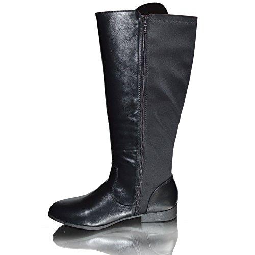 Kahz Global Womens Ladies Cowboy Stivali Lunghi Invernali, Damen Reitsportschuhe Nero 2tone