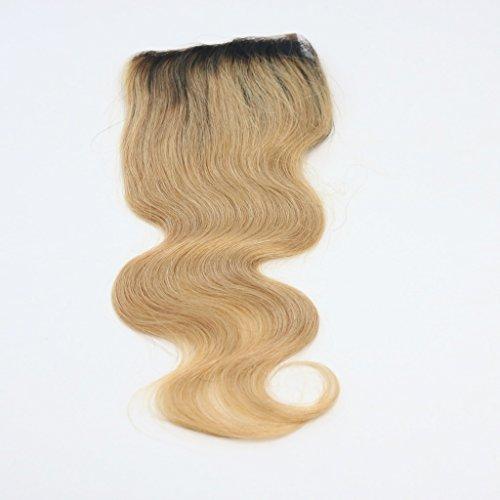 100% cheveux naturels vierges Wave Texture Fermeture Dentelle Suisse sur le dessus 10,2 x 10,2 cm supplémentaire gratuit avec blanchis Couleur 1B/blond vénitien Corps ondulés