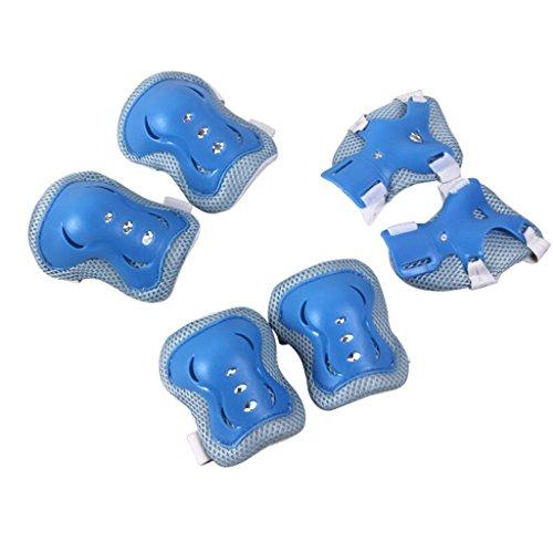 QZ HOME Bambino Attrezzi di Protezione Sei Serie Protezione del Gomito Polso Ginocchiere Marche Popolari Scarpe da Ginnastica Skateboard (Colore : Blu, Dimensioni : M)