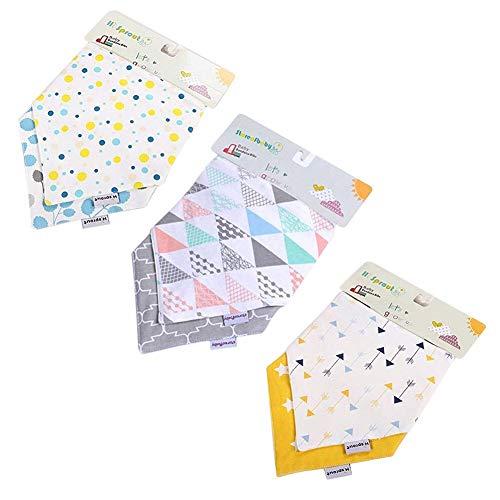 BabyIn Unisex 6 Pack Bandana Lätzchen, 3 Schichten weiche Bambus Baumwolle, wasserdicht Fleece Lätzchen mit Snaps für Babys Drooling, Zahnen und Füttern