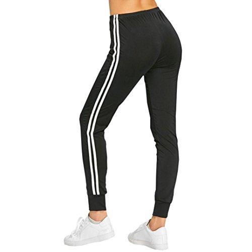 Btruely Sporthosen Damen Sommer Hight Waist Yoga Hosen Slim Fit Leggings Skinny Jogginghose Freizeithosen Streifen Stretchhose Beam Fuß Hosen (S, Schwarz)