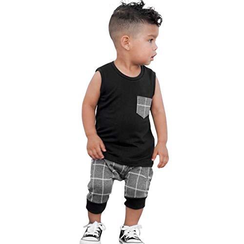 ung Anzug Baby Tasche ärmelloses Hemd Weste T-Shirt + Karo Hosen Zweiteilige Kindertagesgeschenk ()
