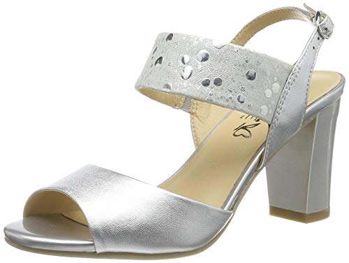 CAPRICE Andrea, Sandali con Cinturino alla Caviglia Donna, Multicolore (Silver Comb 943), 39 EU