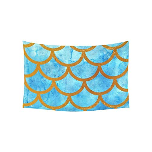 BAOQIN Tapisserie Watercolor Ocean Sea Mermaid Fish Scales Tapestries Wall Hanging Flower Psychedelic Tapestry Wall Hanging Indian Dorm Decor for Living Room Bedroom 80 X 60 Inch (Wandbehang-quilt-rack)