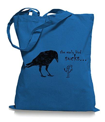 Ma2ca® The Early Bird Sucks - Jutebeutel Stoffbeutel Tragetasche / Bag WM101 Cornflower Blue