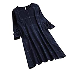 acd882bce2bf0 Women s Casual Long Sleeve Shirts Dress Loose Round-Neck Plai .