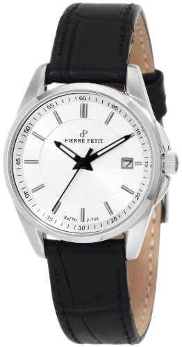 Pierre Petit Women's P-784A Serie Le Mans Silver Dial Black Leather Date Watch