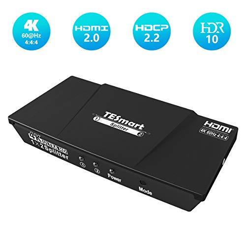 TESmart 1x2 HDMI 4K@60Hz Splitter HDMI Stromversorgung 1 in 2 Out HDMI Splitter Dual Monitor Duplizierung von Videos&Audio für Ultra HD 2160P / HDCP / 3D und HDR/HD STB (Ein Eingang auf zwei Ausgänge)