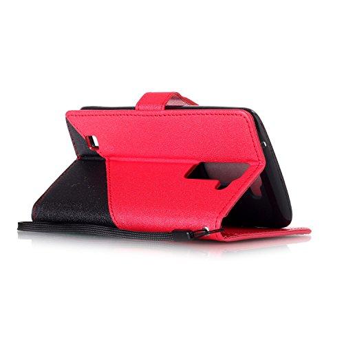 Coque LG K7, Aeeque® Housse Étui en PU Cuir Bumper Flip Cover Bookstyle Support Cartes Slots Joli Fleur de Paon Bleu Ultra Mince Léger Fermeture Aimantée Étui pour LG K7 Noir et Rouge