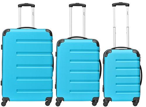 Packenger 3er Koffer-Set 'Marina' Trolley-Set Hartschale (M, L & XL) in Blau / 4 Gummi Rollen (360°) / Koffer mit Zahlenschloss / stabiler eleganter Alltags...