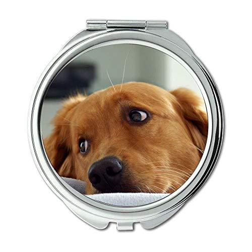 Yanteng Spiegel, Round Mirror, Cute Dog niedlichen Hund Kostenloser Download, Taschenspiegel, 1 X 2X Lupe