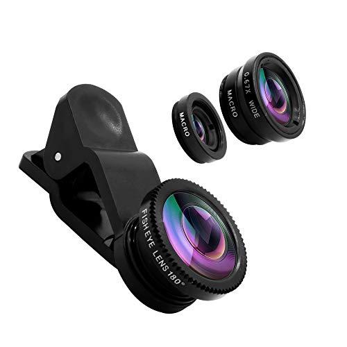 Smartphone Objektivset, 3in1 Clip-on Kamera Handy Linsenadapter mit 180 Grad Fisheye-, 0,67x Weitwinkel- und 10x Macrolinse. Linsenkit kompatibel mit iPhone, Samsung, Huawei UVM.