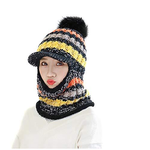 BHYDRY Invierno Gorro Mujer Cálido Sombrero Invierno Boina Hat Tejer Beanie Gorro Visera Invierno