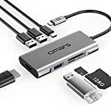 Omars USB C Hub 7 Port Aluminium Adapter mit HDMI 4K, 3 USB 3.0, Type C Power Delivery, SD/Micro SD Kartenleser Ports für Laptop MacBook Pro 2016/2017 Samsung Galaxy S8 Huawei Matebook Type C Geräte