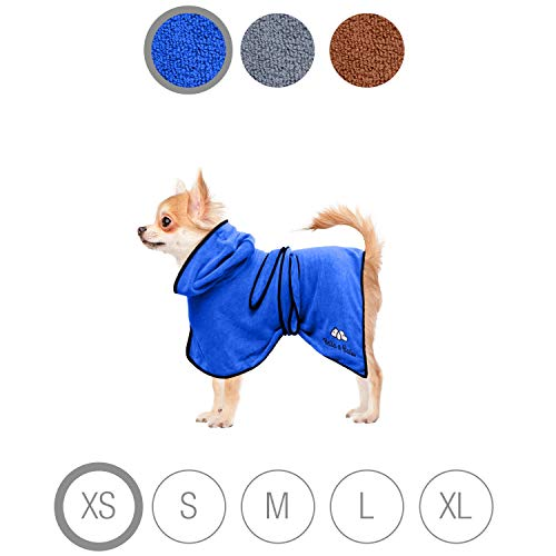 Bella & Balu Perros Albornoz de Microfibra Absorbente–Perros Albornoz para secar Tras el baño, Nadar o Spaziergang en Lluvia Azul Azul Extra-Small