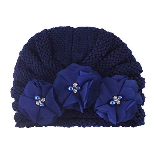 Mütze Winter Warm Bead Hüte Beanie Für Baby Mädchen Jungen - Neugeborenes Baby-Mädchen Gestrickter Turban Geknoteter Hut-Winter-Warme Beanie Headwear-Kappe Yuiopmo
