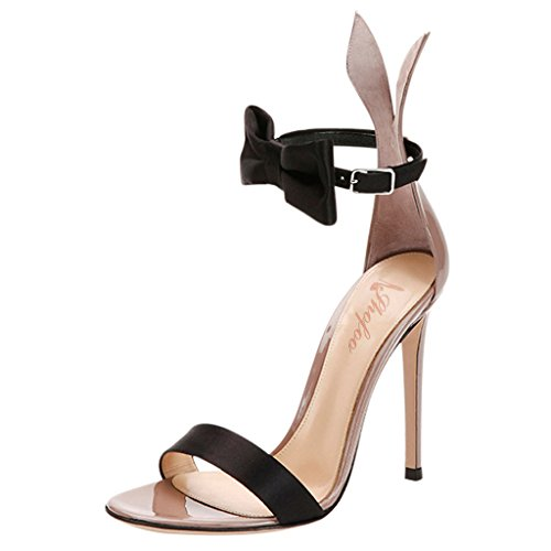 """SHOFOO - Femmes - Stiletto sandale - Gris - Cuir brillant synthétique - Talon aiguille - Boucle de cheville """"Playboy"""" - Bout ouvert Gris"""