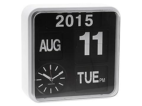 Karlsson Mini Flip Black Dial Casing Wall Clock, White
